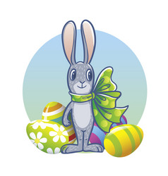 The easter bunny with a big ribbon and painted vector