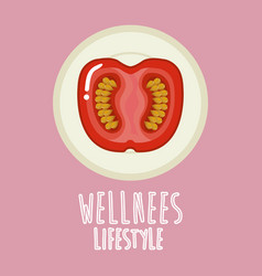 Tomato vegetable wellness lifestyle vector