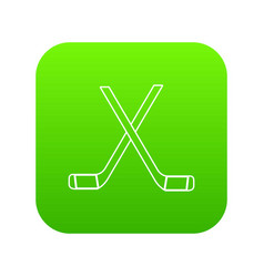 two crossed hockey sticks icon green vector image