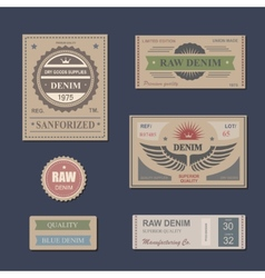 Vintage labels denim typography t-shirt vector