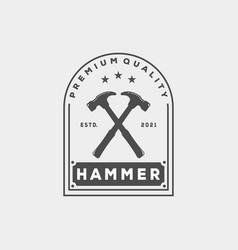 Vintage minimalist hammer logo template design vector