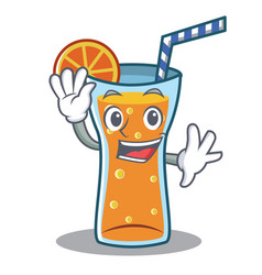 waving cocktail character cartoon style vector image