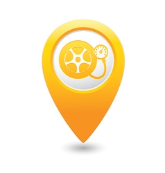 wheel pump icon yellow map pointer vector image