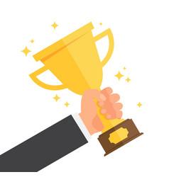 winner holding golden cup in hand vector image