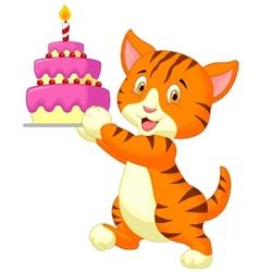 Cat cartoon with birthday cake vector image vector image