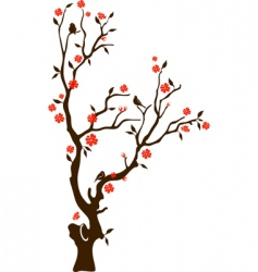 oriental cherry with birds vector image