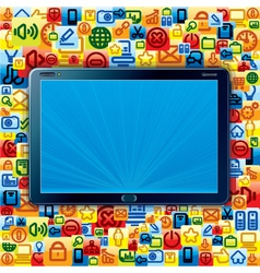 Tablet PC with Apps Background vector image vector image