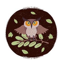 wild cartoon owl on branch grunge card or emblem vector image vector image