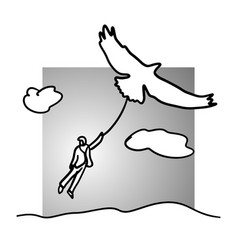 businessman flying with bird or eagle vector image