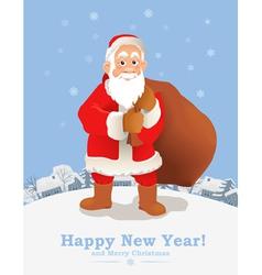 Cartoon Santa Claus New Year greeting card vector image vector image