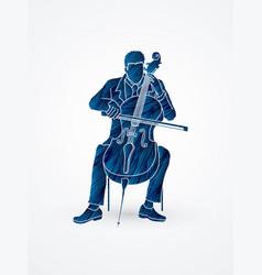 Cellist player a man play cello classic music vector
