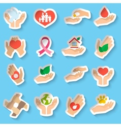 Charity and donation stickers vector image