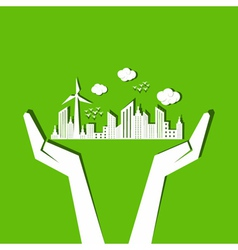 Save nature concept with hands vector