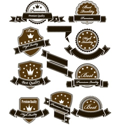 Vintage seals and medals with ribbons vector image vector image