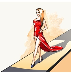 Woman on the runway vector image