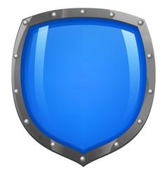 blue shiny glossy shield vector image vector image