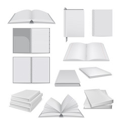 book notepad mockup set realistic style vector image vector image