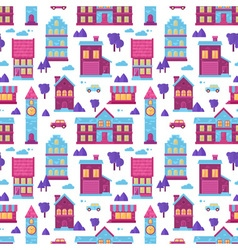 Flat city houses seamless colorful pattern vector image vector image
