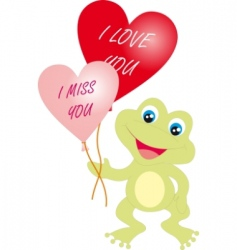 frog with hearts vector image