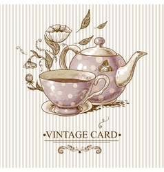 Vintage Card with Cup Pot Flowers and Butterfly vector image vector image