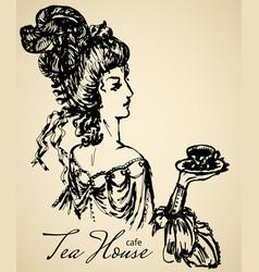 vintage lady for cafe or restaraunt vector image