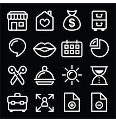 Website menu navigation white line icons on black vector image