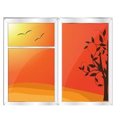 Autumn window vector image vector image