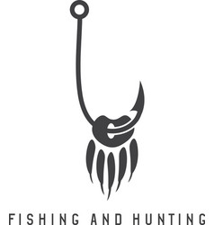 fishing and hunting with paw of bear and fishing vector image