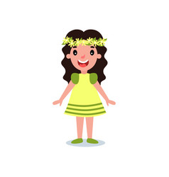 funny little girl dressed in yellow dress with vector image
