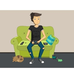 Gamer sitting at home and playing video games vector image vector image