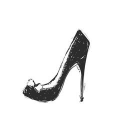 hand drawn woman shoe sketch icon vector image