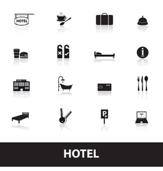 Hotel and motel simple icons eps10 vector