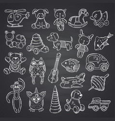 kkid toys set hand drawn and isolated on black vector image