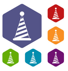 party hat icons set vector image