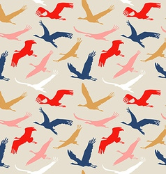 Seamless pattern of flying birds vector image