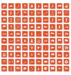 100 national flag icons set grunge orange vector image