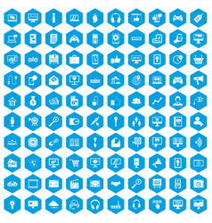 100 web and mobile icons set blue vector image