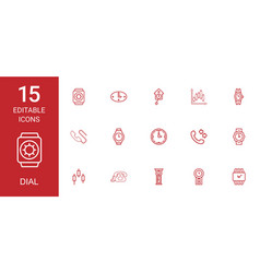 15 dial icons vector image