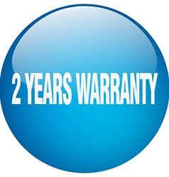 2 years warranty blue round gel isolated push vector image