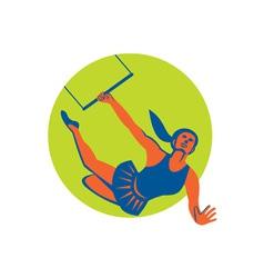 Acrobat Flying Trapeze Act Circle Retro vector