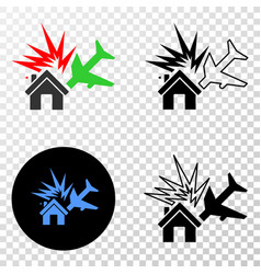 airplane disaster eps icon with contour vector image