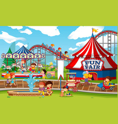 An outdoor funfair scene vector