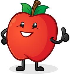 Apple thumbs up cartoon character vector