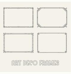 art deco horizontal black frames and borders set vector image