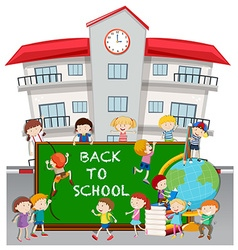 Back to school theme with students at school vector image
