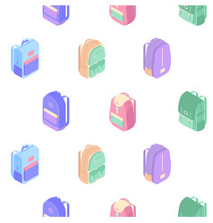 Backpacks seamless pattern with colorful isometric vector
