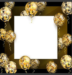 Balloon with golden stars on square realistic vector