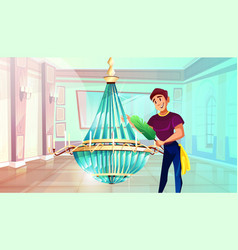 Ballroom chandelier cleaning vector