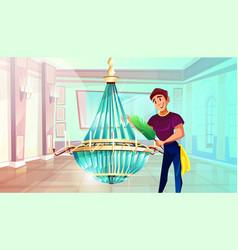 ballroom chandelier cleaning vector image