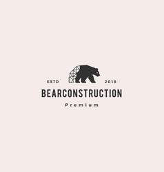 bear construction logo hipster retro vintage icon vector image